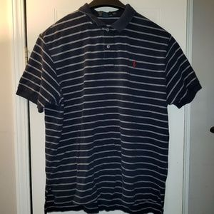 Blue and white striped Ralph Lauren polo shirt
